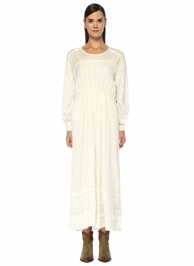Etoile Isabel Marant Etoile Isabel Marant Oceane  Büzgü Detaylı Düğmeli Midi Elbise 101425756 Beyaz